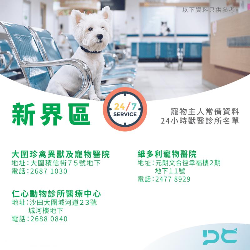 香港 24小時獸醫診所名單 新界區